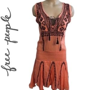 Free People Orange & Black Cotton Dress S